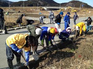 2012年最後のボランティアバスを運行。参加者の半数が女性で、被災地では女性の方たちもスコップを手に泥だし作業に励んだ(2012年12月23日・陸前高田市)