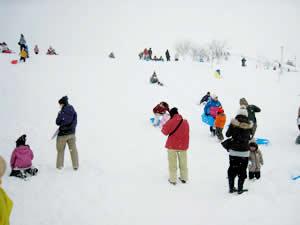 大はしゃぎで雪遊びする子どもたち(2013年2月24日・最上川ふるさと総合公園)