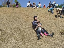 草の斜面を段ボールで滑り降りる子どもたち